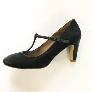 859bfc537feb ECCO T Strap Heels Nubuck Leather Closed Toe 38